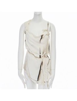 Ann Demeulemeester White Printed Padded Harness Strap Self Tie Irregular Top Xs by Ebay Seller