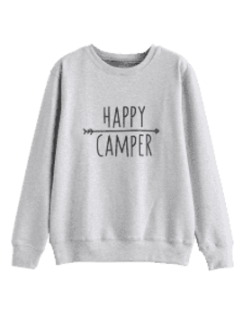 Pullover Contrasting  Graphic Sweatshirt   Light Gray S by Zaful