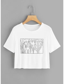 1 Plus1 Girls Plants Print Crop Tee by Romwe