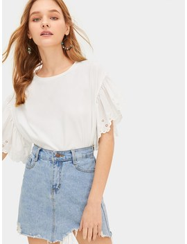 Scalloped Embroidered Eyelet Cuff Tee by Romwe