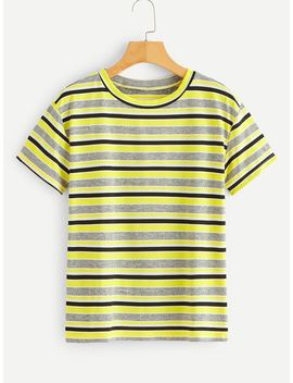 Stripe Print Tee by Romwe