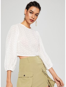 Crop Zip Back Embroidery Eyelet Blouse by Romwe