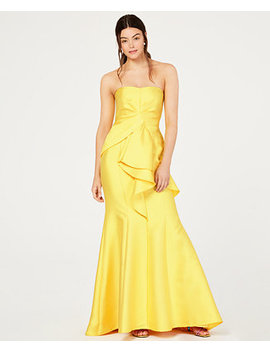 Strapless Jacquard Gown by Adrianna Papell