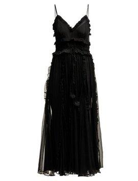 Lilla Ruffle Trimmed Silk Dress by Lee Mathews