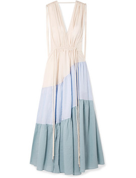 Lilian Tiered Cotton Seersucker Maxi Dress by Lee Mathews