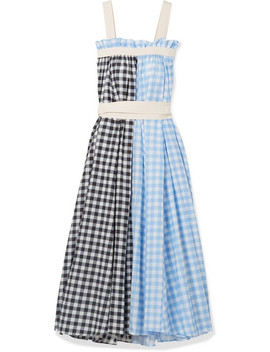 Clara Grosgrain Trimmed Checked Cotton And Silk Blend Maxi Dress by Lee Mathews
