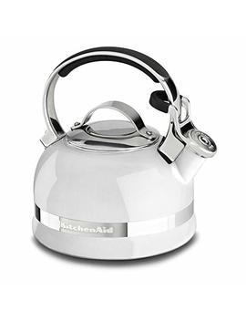 Kitchen Aid Kten20 Sbwh 2.0 Quart Kettle With Full Stainless Steel Handle And Trim Band   White by Kitchen Aid