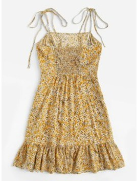 Knot Shoulder Ruffle Hem Floral Dress by Shein
