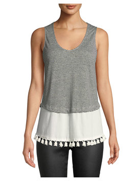 Tiered Scoop Neck Tank W/ Pompoms by Derek Lam 10 Crosby
