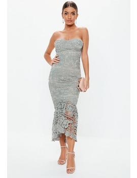 Grey Lace Bandeau Bust Cup Midi Dress by Missguided