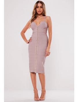 Mauve Stud Zip Bandage Dress by Missguided