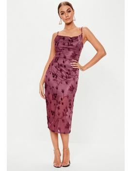 Purple Devore Cowl Neck Midi Dress by Missguided