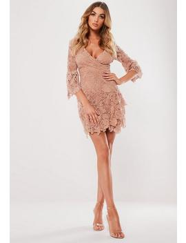 Blush Floral Lace Wrap Front Mini Dress by Missguided