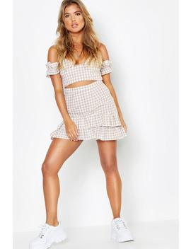 Woven Gingham Twist Top + Skirt Co Ord by Boohoo