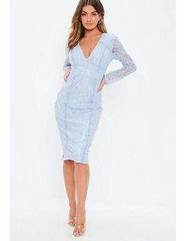 Blue Long Sleeve Ladder Insert Midi Dress by Missguided