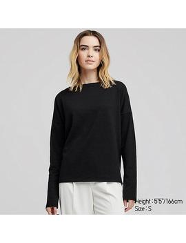 Women Stretch Slub Jersey Boat Neck Long Sleeved T Shirt by Uniqlo