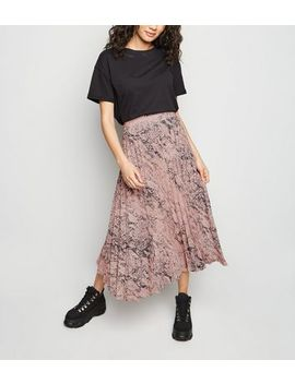Petite Pink Snake Print Pleated Midi Skirt by New Look