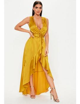 mustard-satin-wrap-buckle-maxi-dress by missguided