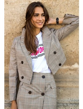 Plaid Cropped Blazer & Skirt Co Ord Twin Set by Poppy Lovers Fashion