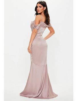 petite-bridesmaid-mauve-satin-cowl-cold-shoulder-maxi-dress by missguided