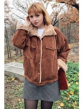 Corduroy Faux Fur Jacket by Poppy Lovers Fashion