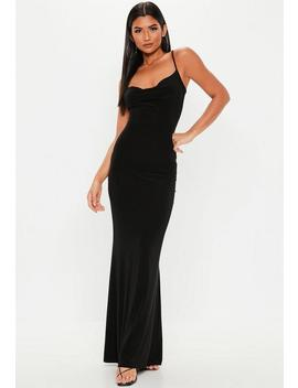 Tall Black Slinky Cowl Neck Maxi Dress by Missguided