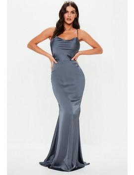 Gray Satin Cowl Maxi Dress by Missguided