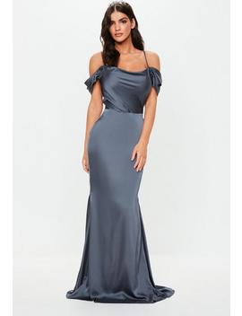 Gray Satin Cowl Cold Shoulder Maxi Dress by Missguided