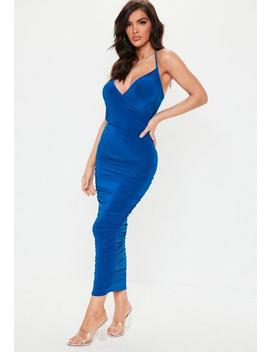 Blue Slinky Ruched Wrap Maxi Dress by Missguided