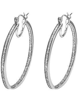 Sterling Silver 1/3ct Tdw Diamond Hoop Earrings by Jewelon Fire