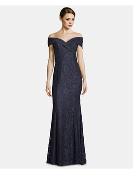 Petite Off The Shoulder Lace Gown by Xscape