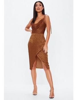 Rust Polka Dot Cowl Split Front Midi Dress by Missguided