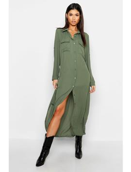 woven-midi-shirt-dress by boohoo