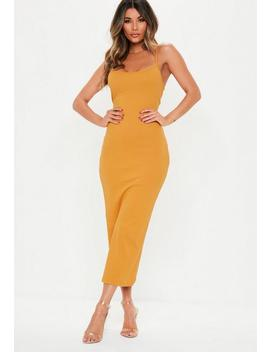 Mustard Ribbed Strappy Midi Dress by Missguided