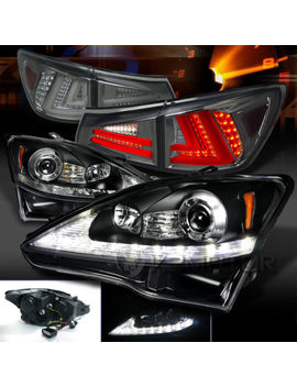 For 06 08 Lexus Is250 Black Led Projector Headlights+Smoke Led Tail Lamps by Ebay Seller