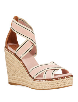Frieda Strappy Woven Wedge Espadrilles by Tory Burch