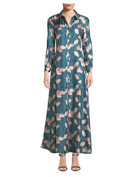 Siya Long Sleeve Button Front Graphic Floral Silk Dress by Lafayette 148 New York