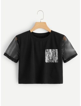 Contrast Fishnet And Sequin Tee by Romwe