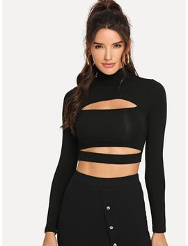 Cut Out High Neck Solid Tee by Romwe