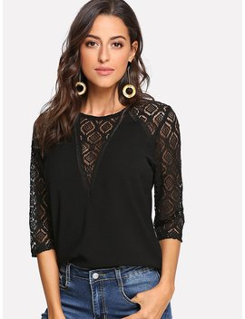 Lace Panel Button Keyhole Back Top by Romwe