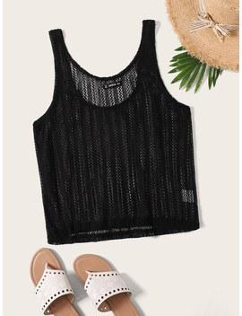 Solid Crochet Sheer Tan Top by Romwe