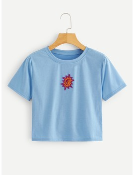 Graphic Patched Crop Tee by Romwe