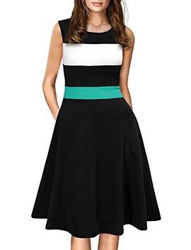 Woosea Women's Sleeveless Colorblock Stripe Pockets Swing Casual Party Dress by Woosea