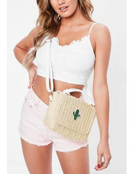 Cream Wicker Cactus Cross Body Bag by Missguided