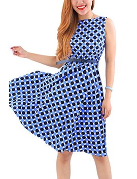 Yming Women's Vintage Cocktail Swing Dress Floral Print A Line Sleeveless Midi Dress by Yming