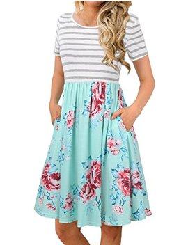 Fanvook Women's Short Sleeve Patchwok Floral Dress Dresses With Pockets by Fanvook