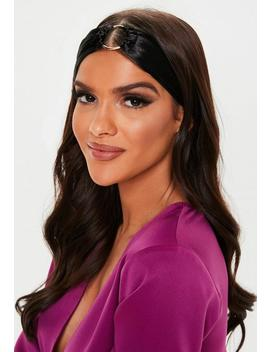 Black Satin Ring Bandeau Headband by Missguided