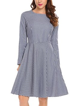 Tinkwell Women Casual Long Sleeve A Line Lapel V Neck Button Down Shirt Dress With Belt by Tinkwell