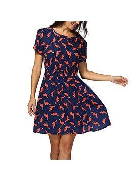 Birdfly Women Casual Cute Dinosaur Pattern Chiffon Dress In Pure Navy Plus Size 2 L 3 L 4 L 5 L by Birdfly