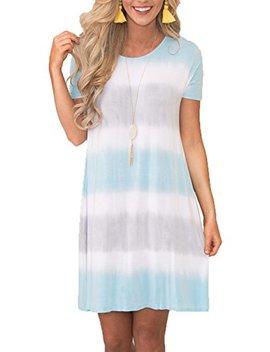 Chvity Women Loose Casual Short Sleeve Tie Dye Dress T Shirt Dress With Pockets by Chvity
